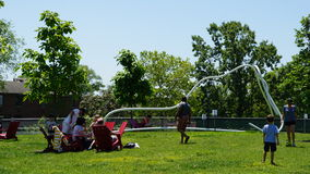 Picnicking at at Governors Island in New York Stock Photo