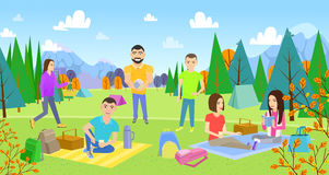 Picnicking happy lifestyle park together. Enjoying meadow vacation character illustration. Summer vacation resting outdoor. young woman and man, lovely couple Royalty Free Illustration