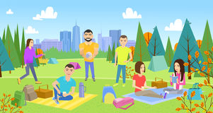 Picnicking happy lifestyle park together. Enjoying meadow vacation character vector illustration. Summer vacation resting outdoor. young woman and man, lovely Stock Illustration
