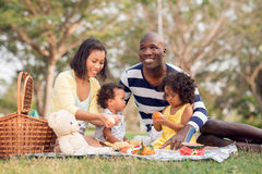Picnicking together. Image of a big family picnicking together in the park Royalty Free Stock Photo