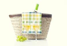 Picninc del verano con el vino blanco Fotografía de archivo