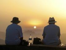 从Pico观看的日落做Arieiro -马德拉岛 图库摄影