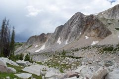 Pico da curva da medicina, montanhas nevados da escala, Laramie Wyoming fotografia de stock