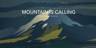 Pico da neve e paisagem dos montes verdes ilustração stock