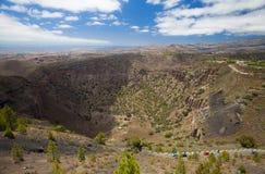 从Pico de Bandama的鸟瞰图 免版税库存图片