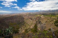 从Pico de Bandama的鸟瞰图 库存图片