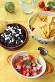Pico de gallo and Black bean salsa Stock Photography