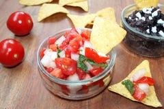 Pico de gallo and black bean salsa Royalty Free Stock Photography