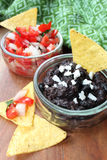 Pico De Gallo i czarnej fasoli salsa Obrazy Royalty Free