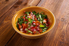 Pico de gallo. In Mexican cuisine.also called salsa fresca stock photo