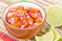 Pico de gallo. Mexican salad in a bowl royalty free stock image