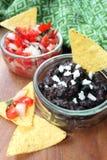 Pico de gallo och salsa för svart böna Royaltyfria Bilder