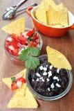 Pico de gallo och salsa för svart böna Fotografering för Bildbyråer