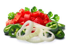 Pico de Gallo, salsa fresca ingredients, paths. Ingredients for Pico de Gallo, salsa fresca, salsa bandera. Chopped tomatoes, Jalapenos, onion rings and cilantro royalty free stock photos