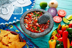 Pico de Gallo sauce from Mexico in molcajete Royalty Free Stock Images