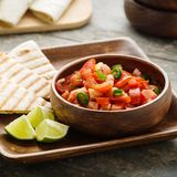 Pico de Gallo. Traditional mexican salsa with tomatoes and chilis royalty free stock photos