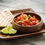 Pico de Gallo. Traditional mexican salsa with tomatoes and chilis royalty free stock images