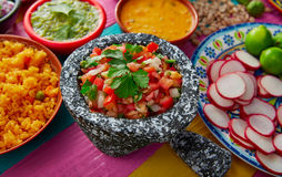 Pico de gallos mexican sauce with rice Royalty Free Stock Photos