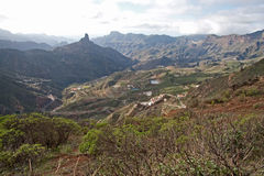 Pico de Las Nievas. Breathtaking view over the central part of Gran Canaria towards the Pico de Las Nievas stock image