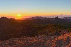 Pico de las Nieves au coucher du soleil Photographie stock libre de droits