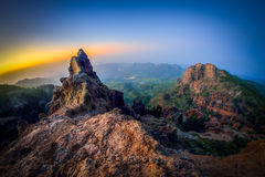Pico de las Nieves. Beautiful sunrise on the highest peak of the Gran Canaria island Stock Image