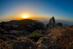 Pico de las Nieves. Beautiful sunrise on the highest peak of the Gran Canaria island Stock Photo