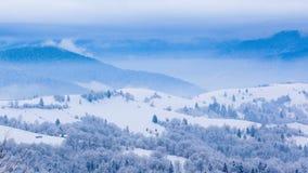Pico de montaña con el soplo de la nieve por el viento Paisaje del invierno Día frío, con nieve metrajes
