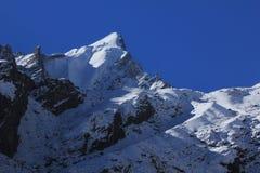 Pico de montaña cubierto por el glaciar y la nieve Escena en el Langtang foto de archivo libre de regalías