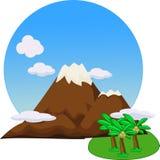 Pico de montaña hermoso plano stock de ilustración