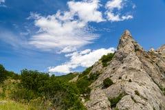 Pico de montaña rocosa en el bosque Foto de archivo libre de regalías