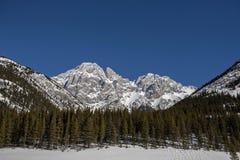 Pico de montanha acima da floresta Fotos de Stock Royalty Free