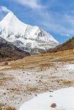 Pico de montanha da neve com fundo do prado e do céu azul Fotos de Stock Royalty Free