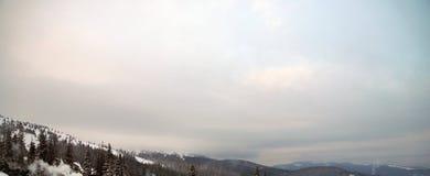 Pico de montanha nevado na manhã Fotografia de Stock Royalty Free