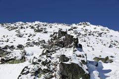 Pico de montanha nevado rochoso imagem de stock