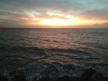 Sunset On Aguada Puerto Rico Beach royalty free stock photo