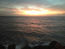 Sunset On Aguada Puerto Rico Beach royalty free stock photos