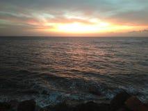 Sunset On Aguada Puerto Rico Beach stock photography