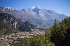 Pico de Pisang e floresta nas montanhas de Himalaya, região de Annapuna, Nepal Imagens de Stock