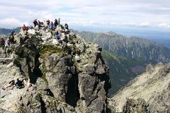 Pico de Rysy em montanhas de Tatry foto de stock