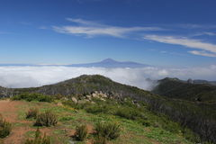 Pico de Teide Tenerife från La Gomera Royaltyfri Fotografi