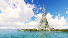 Pico de una montaña rocosa en un lapso de tiempo tropical del mar de la isla almacen de metraje de vídeo