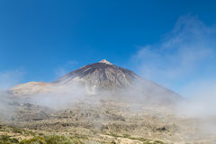 Pico del Teide With Fog in Tenerife, Spain Stock Images