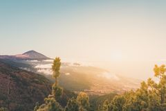 Pico del teide, mountain above the clouds, Tenerife, Spain stock photography