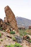 Pico del teide volcano with stone formation roques de garcia. And rock Chinchado (Tenerife, Spain Royalty Free Stock Photo