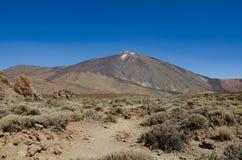 Pico del Teide vulkanmaximum i Tenerife, kanariefågelöar arkivbilder