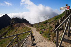 Pico do Areeiro hiking trail sign, Madeira Royalty Free Stock Images