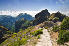 Pico do Areeiro mountain trek, Madeira. Trekking mountains at Pico do Areeiro. Madeira, Portugal Stock Image