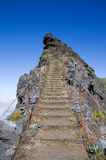 Pico do Areeiro trekking to sky, Madeira Royalty Free Stock Images