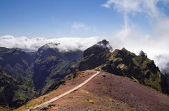 Pico do Areeiro trekking trail start, Madeira. The start of the trekking trail from Pico do Areeiro to Pico Ruivo. Madeira, Portugal Stock Image