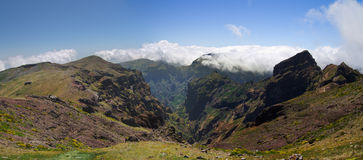 Pico do Areeiro valley, Madeira. Steep valley and cliffs at the top of Pico do Areeiro. Madeira, Portugal Stock Image